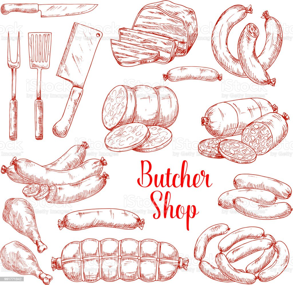 Vector sketch icons of butchery meat products vector art illustration