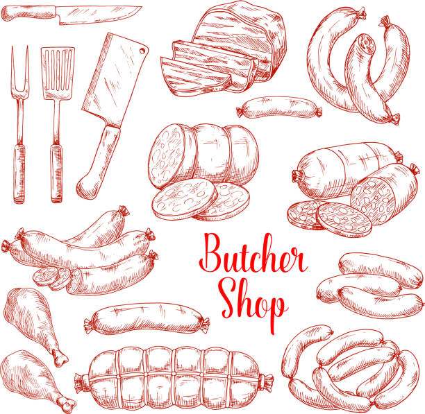 vector sketch icons of butchery meat products - delis stock illustrations