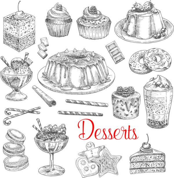 vektor-skizze-icons von dessert kekse und kuchen - tiramisu stock-grafiken, -clipart, -cartoons und -symbole
