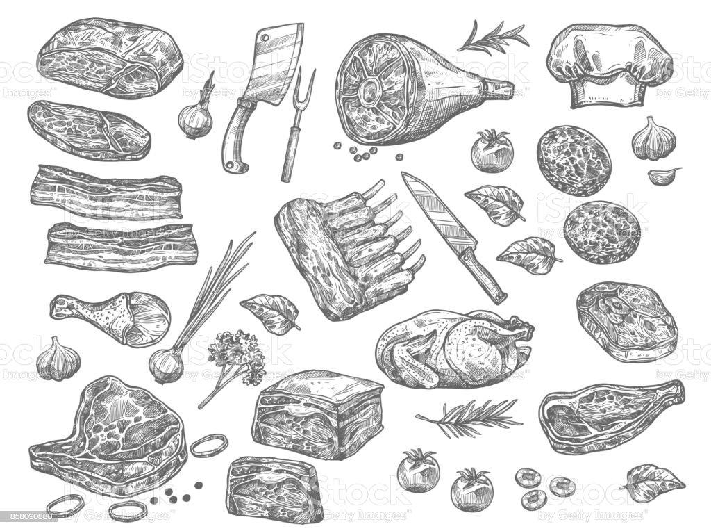 Vetor desenho ícones de carne para a loja de talho - ilustração de arte em vetor