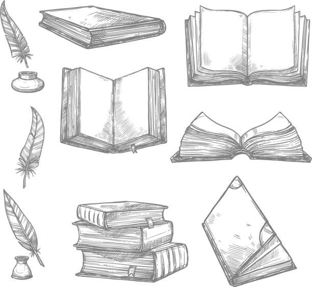 stockillustraties, clipart, cartoons en iconen met vector schets iconen van oude boeken en manuscripten - stekels