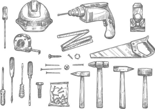 벡터 스케치 아이콘 복구 작업 도구 - 나무망치 stock illustrations