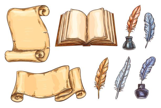 stockillustraties, clipart, cartoons en iconen met vector schets iconen oude vintage boeken briefpapier - stekels