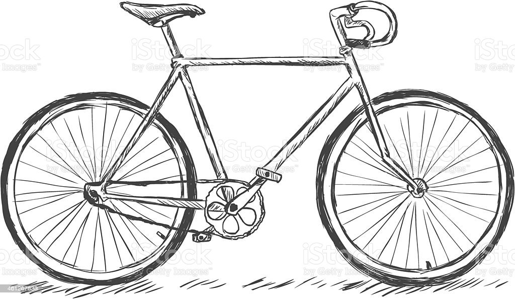 vector sketch illustration - bicycle vector art illustration