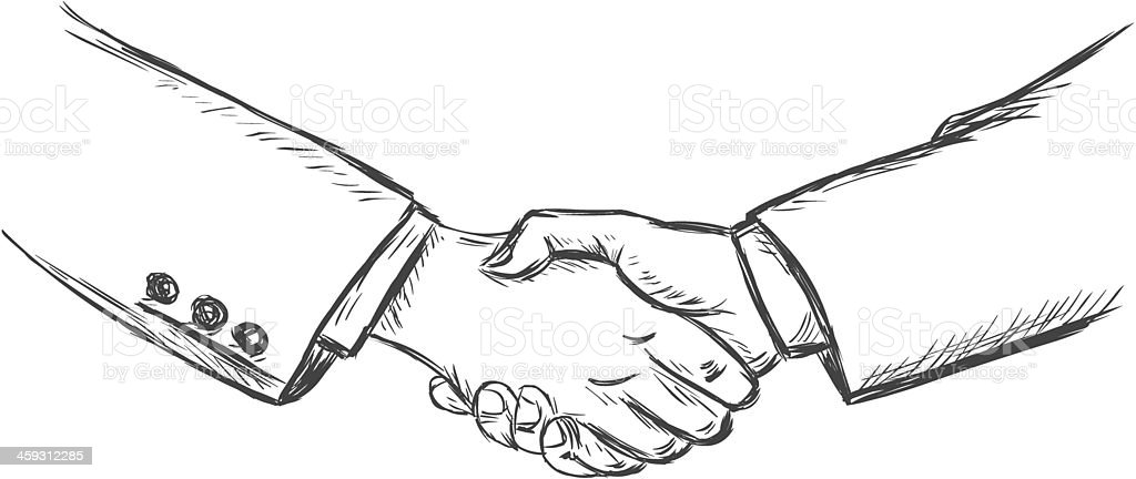 vector sketch illustration -business handshake vector art illustration