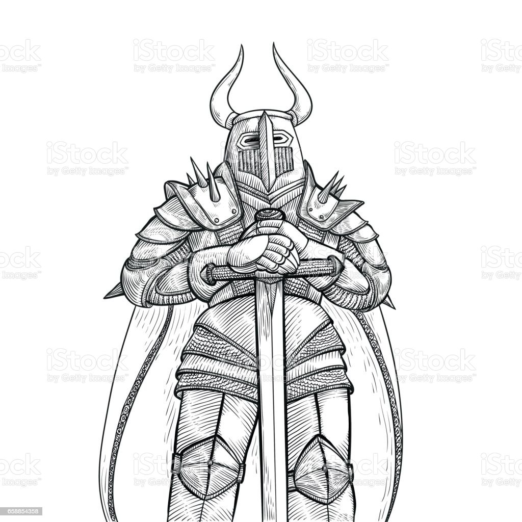 Vector Sketch Illustration By Hand Medieval Knight In Heavy ...