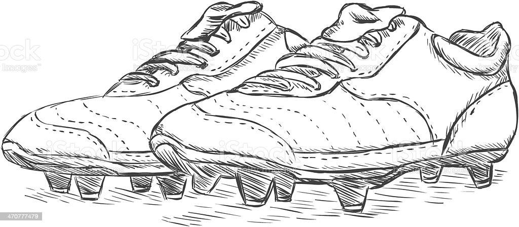vector sketch illustration - football boots vector art illustration