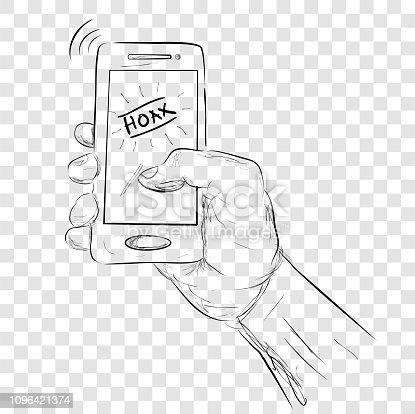 sketch illustration for hoax or fake news, at transparent effect background