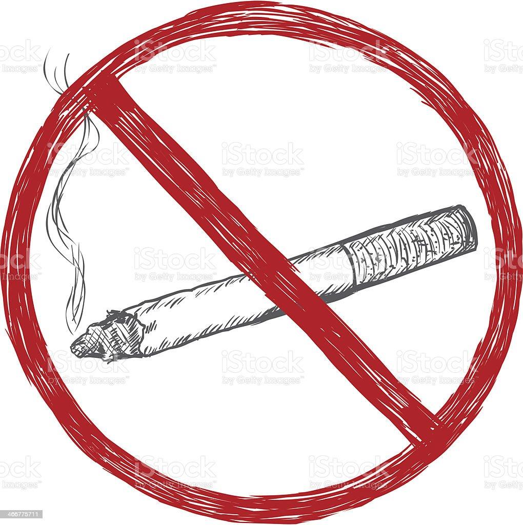 vector sketch illustration - no smoking sign vector art illustration