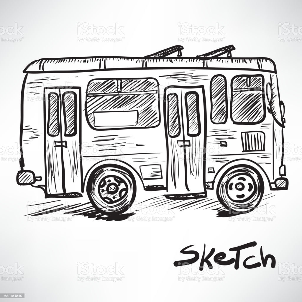 Vector sketch illustration of a bus royalty-free vector sketch illustration of a bus stock vector art & more images of art