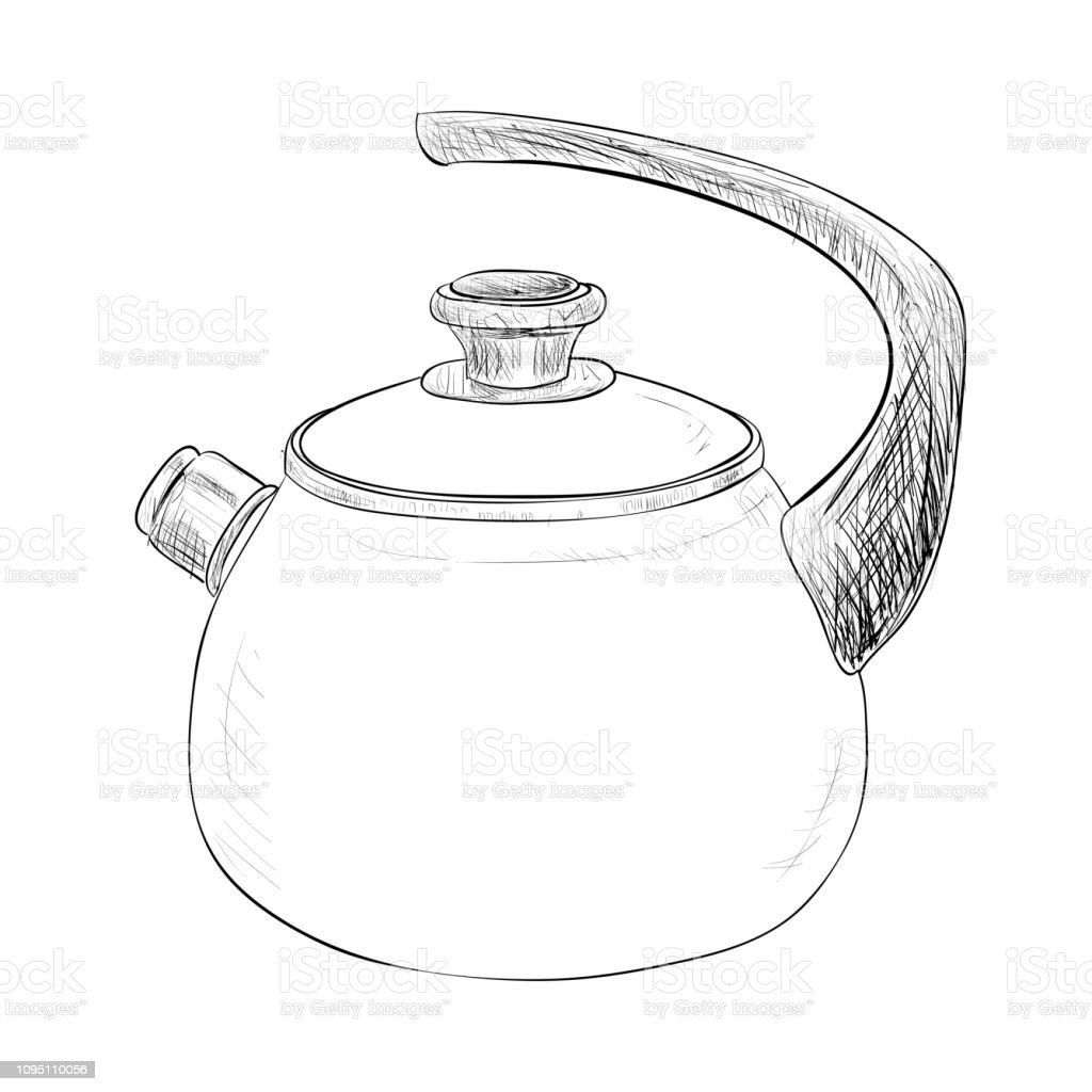 Vector sketch illustration of kettle vector art illustration