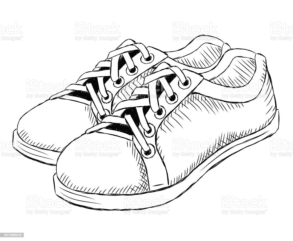 Notebook And Pen Sketch Stock Vector Art More Images Of: Vector Sketch Illustration Of Mens Shoes Stock Vector Art