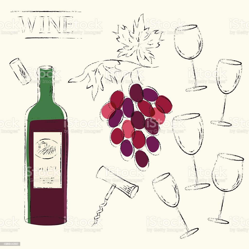 Vector sketch illustration of red wine bottle, wine grapes, cork vector art illustration
