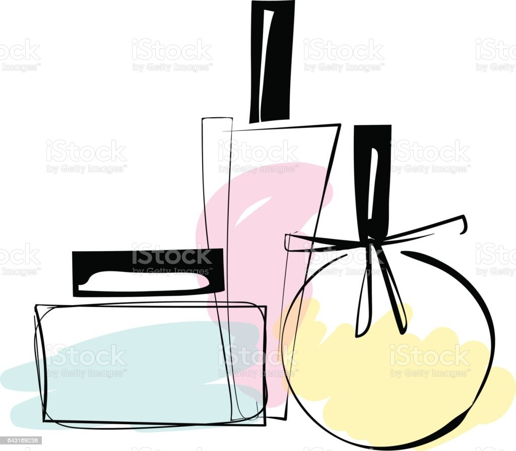 Vector sketch illustration of trendy perfume bottles. - ilustração de arte em vetor