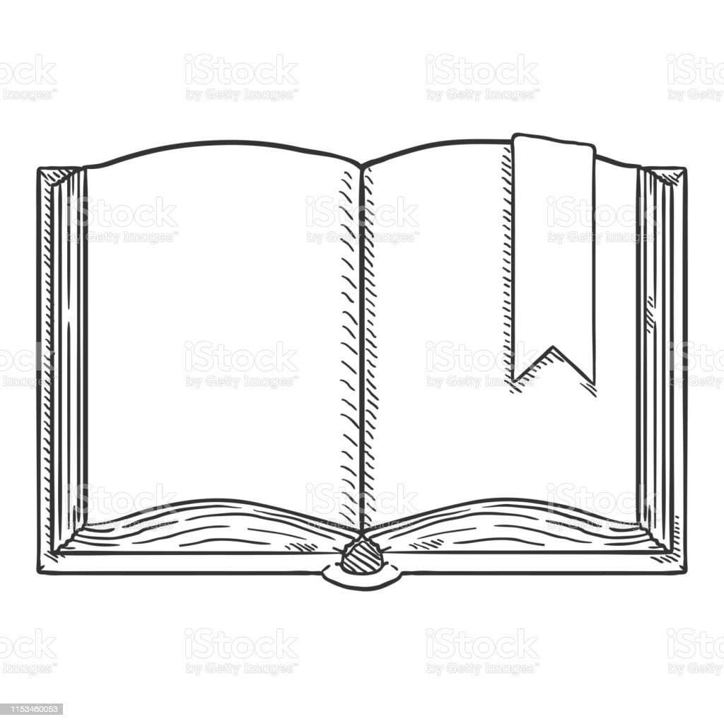 Vector Sketch Illustration Open Book With Bookmark Stock