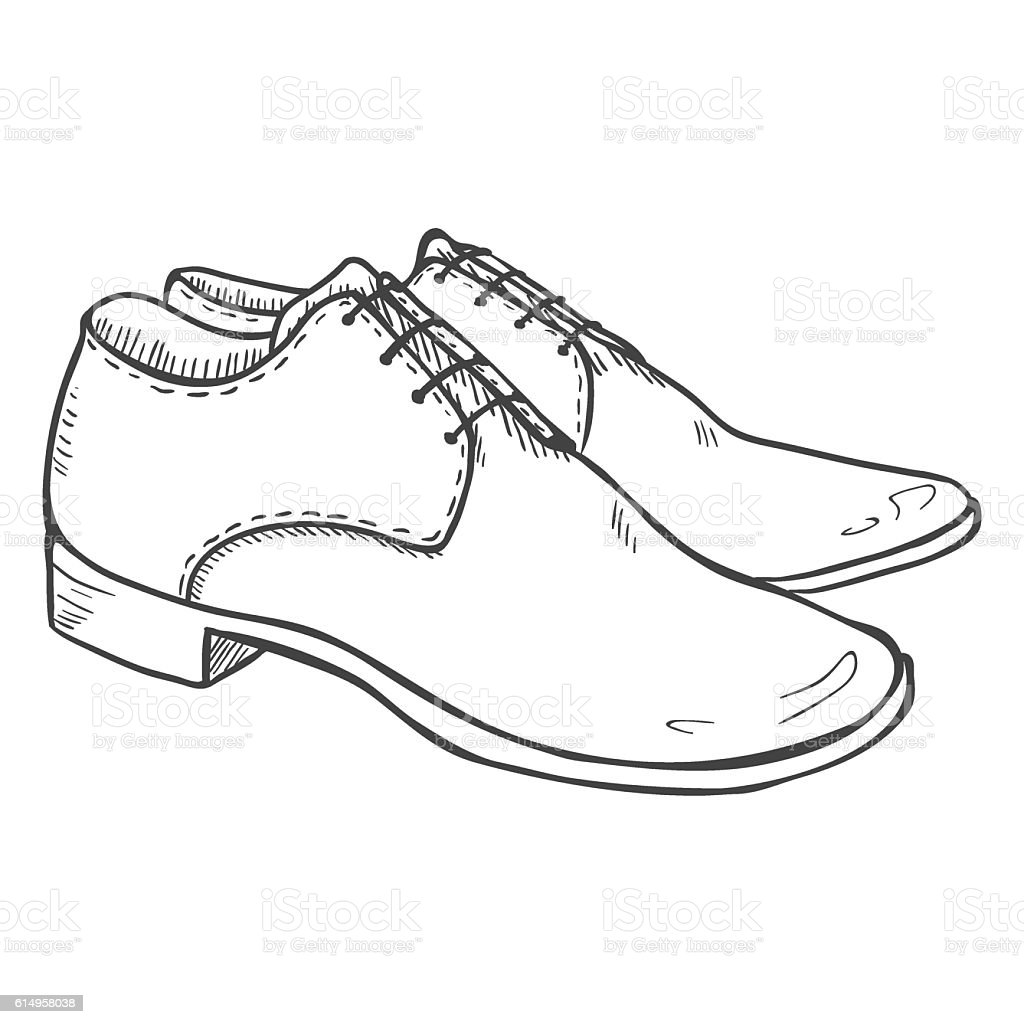 Line Art Shoes : Vector sketch illustration pair of classic men shoes stock