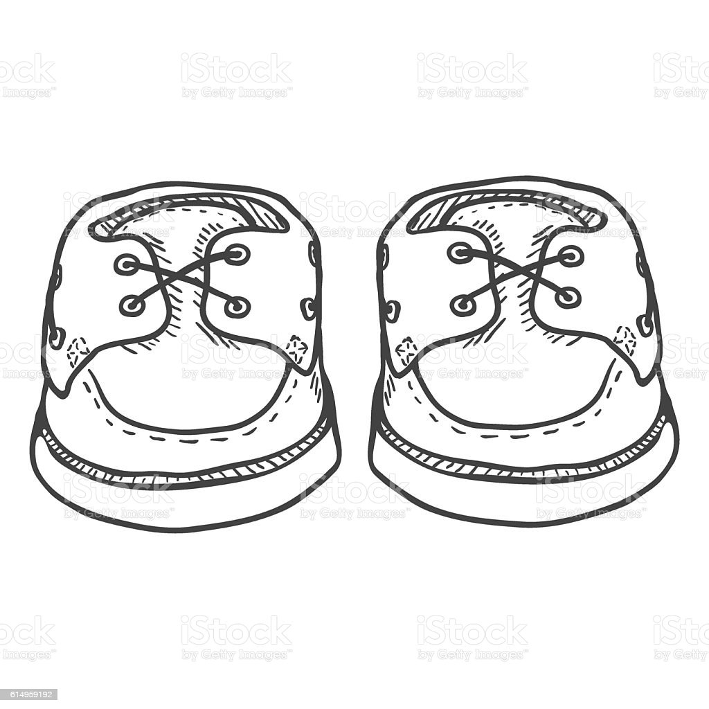 Vector Sketch Illustration - Pair of Topsider Men Shoes vector art illustration