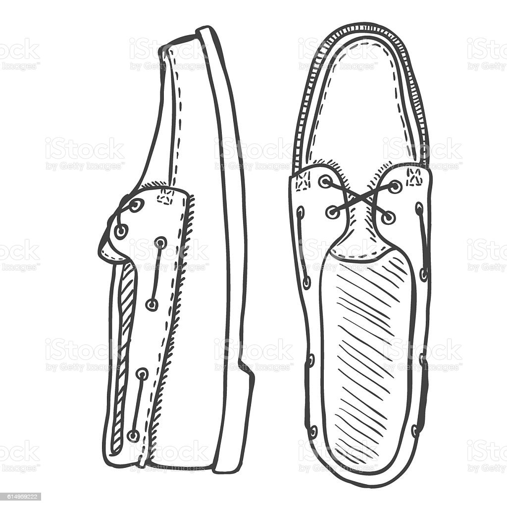 Vector Sketch Illustration - Pair of Topsider Men Shoes. vector art illustration
