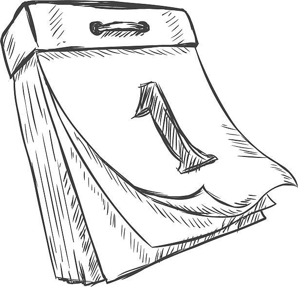 vector sketch illustration - tear-off calendar vector sketch illustration - tear-off calendar almanac stock illustrations