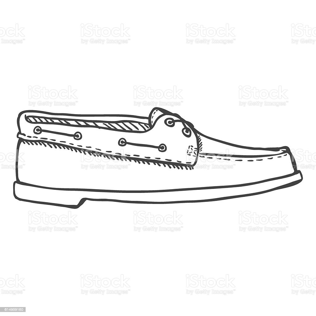 Vector Sketch Illustration - Topsider Men Shoes. Side View vector art illustration