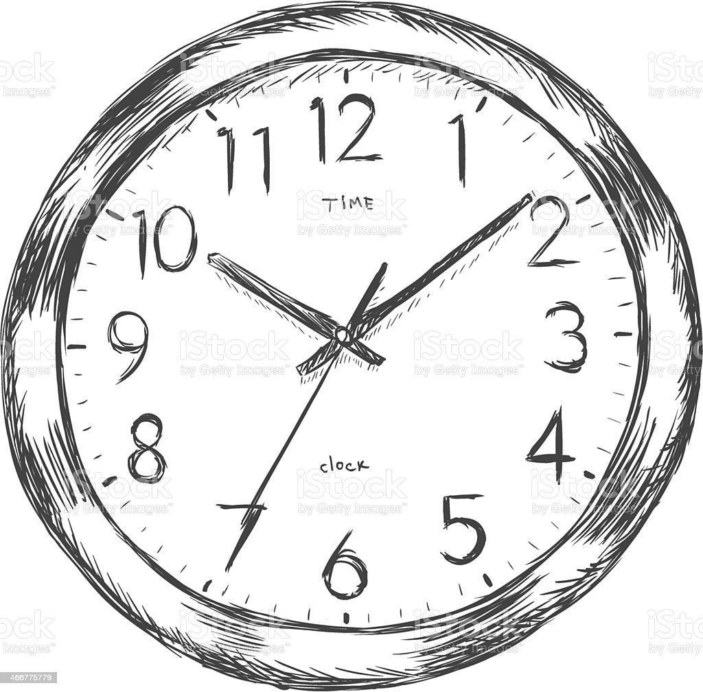 vector sketch illustration wall clock stock vector art
