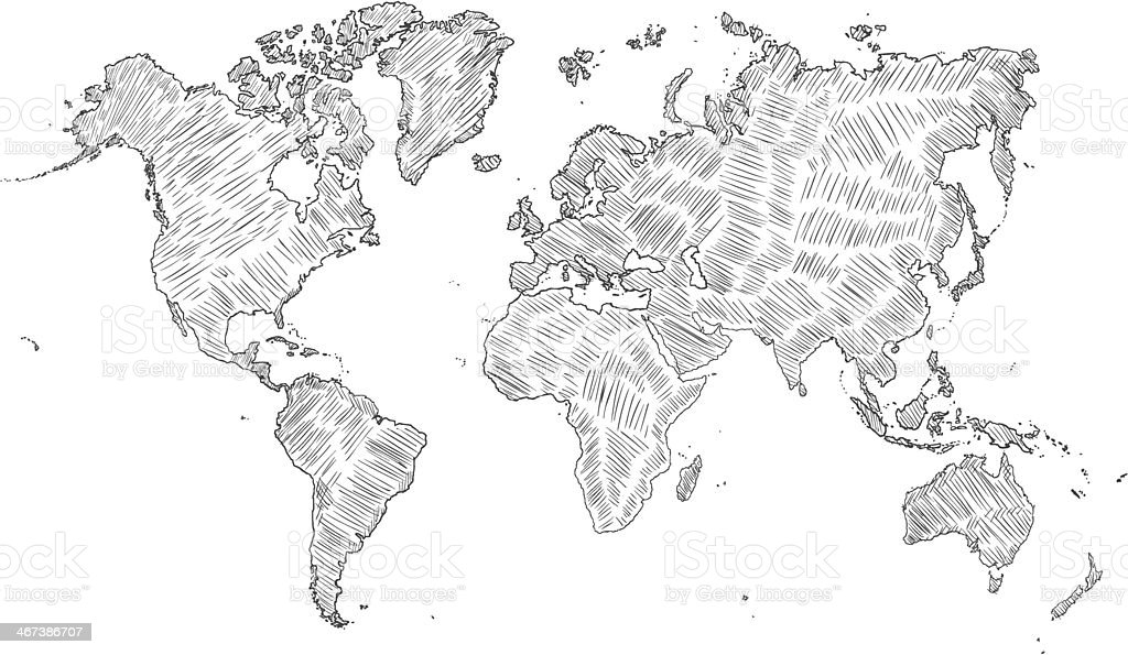 Vector sketch illustration world map silhouette stock vector art vector sketch illustration world map silhouette royalty free vector sketch illustration world map silhouette gumiabroncs Image collections