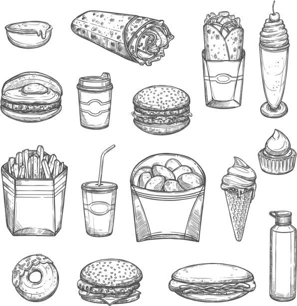 vektor-skizze isoliert-fast-food-icons - döner stock-grafiken, -clipart, -cartoons und -symbole