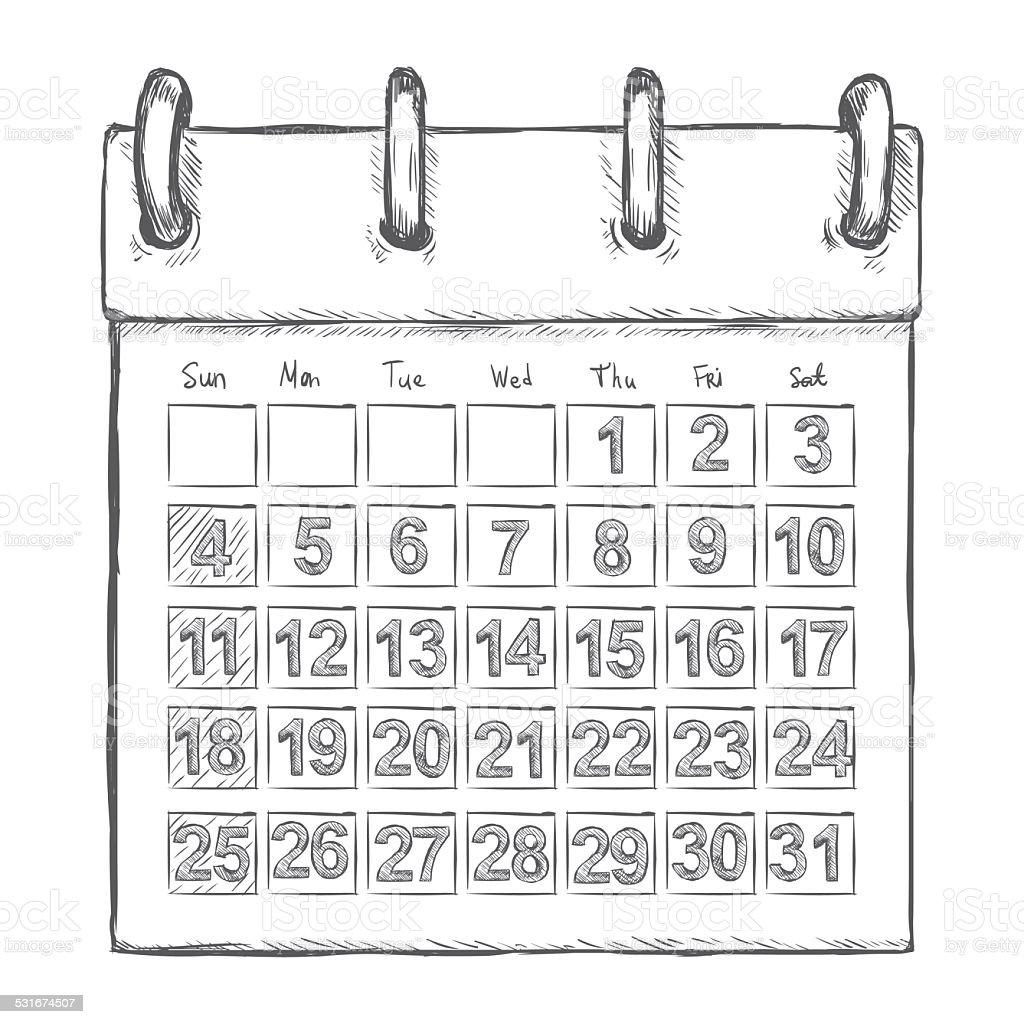 Vektor-Skizze losen Kalender – Vektorgrafik