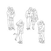 Vector sketch couples kissing and hugging at winter set. . Young man and woman standing in warm clothing, hat and boots, lovers express care and love, valentines day romantic characters monochrome