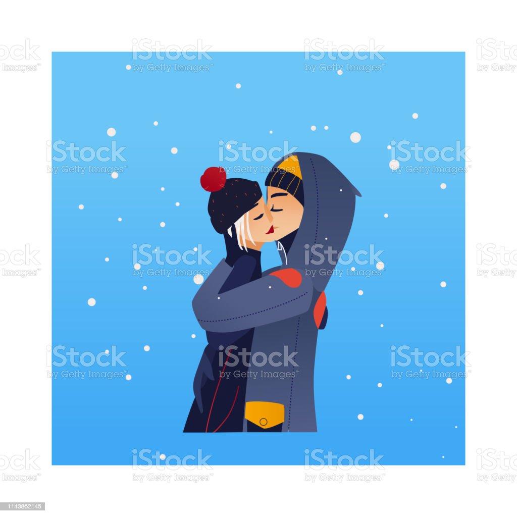 Vector Sketch Lovers Hugging Kissing At Winter Stock Vector Art