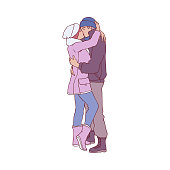 Vector sketch couple kissing and hugging at winter standing in warm clothing, hat and boots. Young man and woman lovers express care and love, valentines day romantic characters