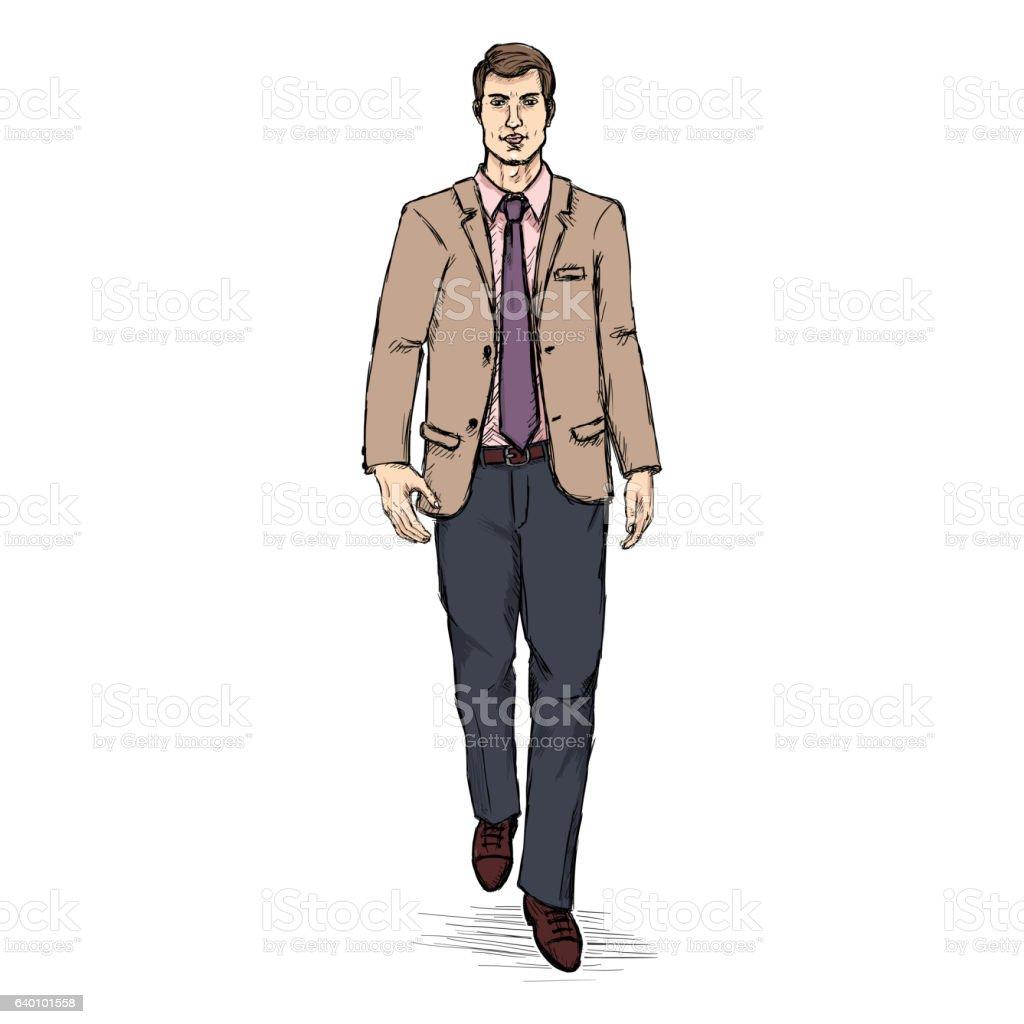ec6b78f09af1 Vector Sketch Men Model In Suit Business Dress Code Stock Vector Art ...