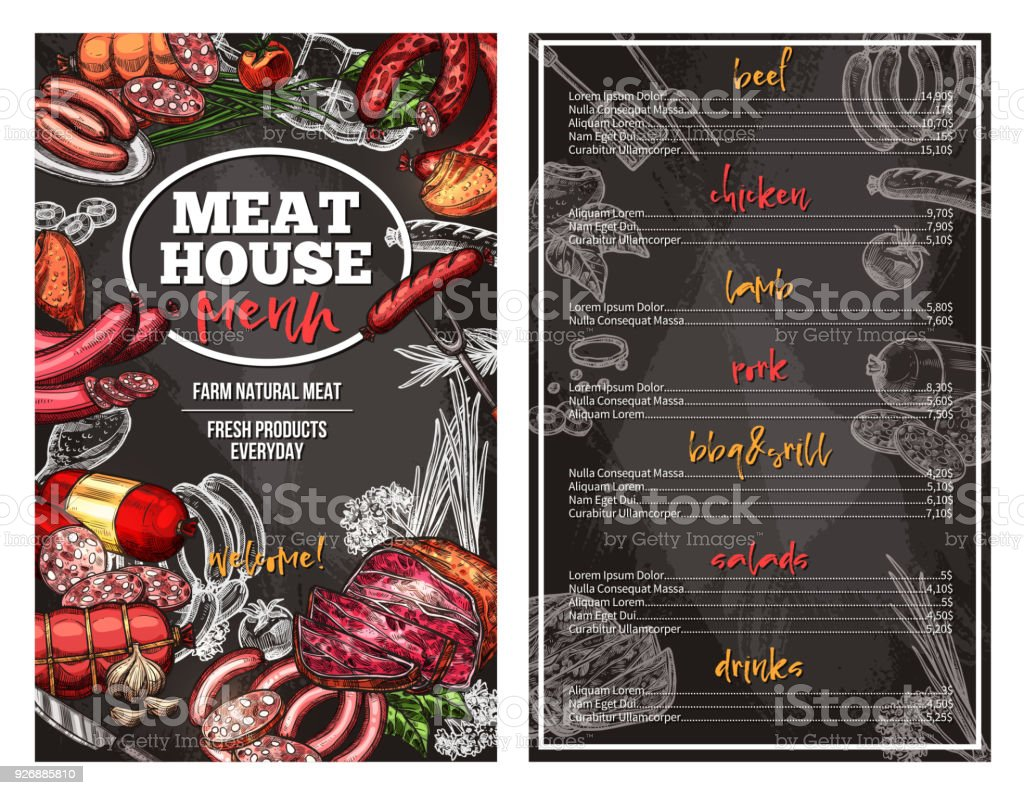 Vector sketch menu pour charcuterie de viande maison - Illustration vectorielle