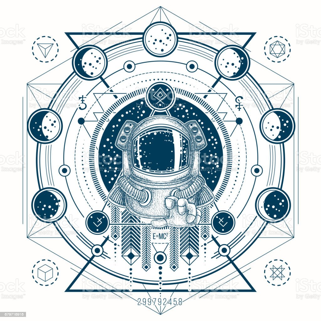 Vector sketch of a tattoo with astronaut in a space suit and moon phases vector art illustration