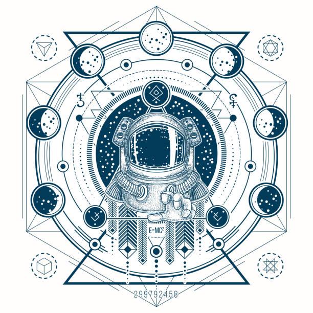 宇宙飛行士の宇宙服と月の満ち欠けとタトゥーのベクター スケッチ - 星のタトゥー点のイラスト素材/クリップアート素材/マンガ素材/アイコン素材