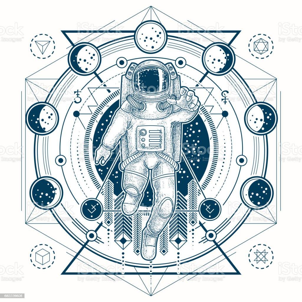 Dibujo vectorial de un tatuaje con astronauta en un traje espacial y fases de la luna - ilustración de arte vectorial