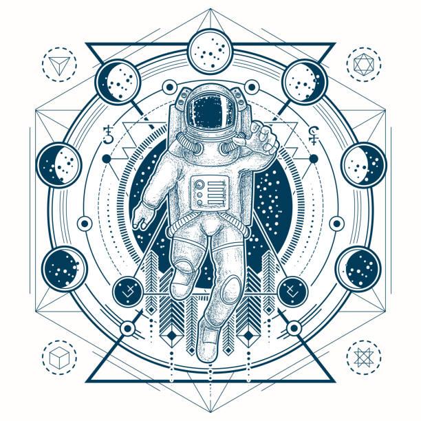 ilustraciones, imágenes clip art, dibujos animados e iconos de stock de dibujo vectorial de un tatuaje con astronauta en un traje espacial y fases de la luna - tatuajes de luna