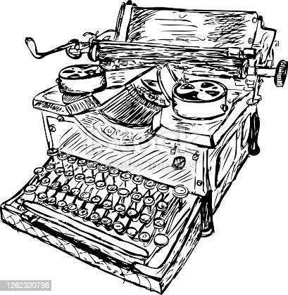 istock Vector sketch of a vintage typewriter 1262330798