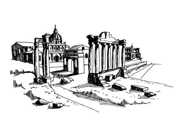 vector sketch of Ancient ruins of Roman Forum or Foro Romano, Rome, Italy. vector sketch of Ancient ruins of Roman Forum or Foro Romano, Rome, Italy. roman forum stock illustrations