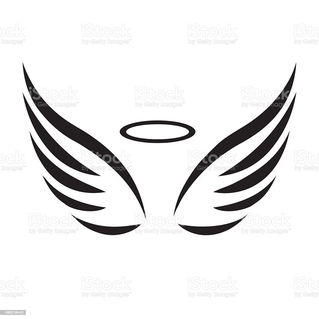 Vector sketch of angel wings vector art illustration