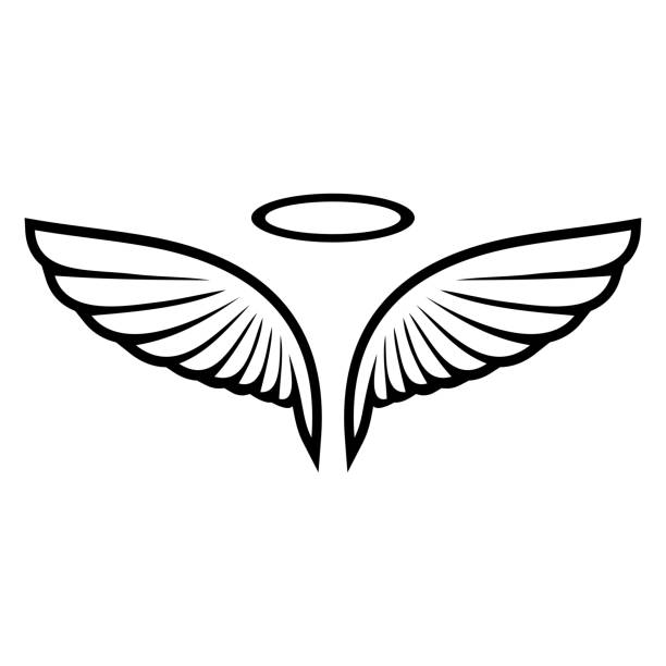 Vector sketch of angel wings vector art illustration
