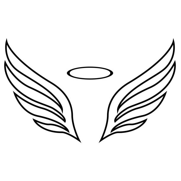 vector sketch of angel wings - angels tattoos stock illustrations, clip art, cartoons, & icons