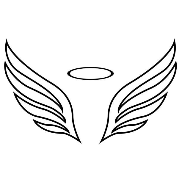 vektor-skizze von engel flügel - engel tattoos stock-grafiken, -clipart, -cartoons und -symbole