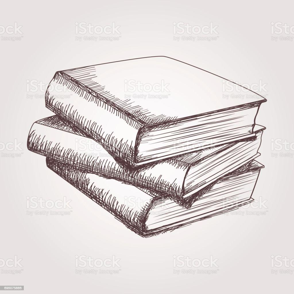 Vector sketch of books stack vector art illustration