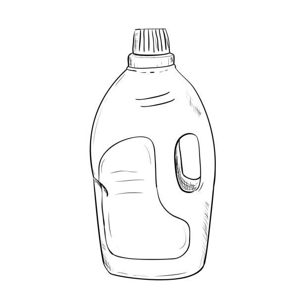 vektor-skizze der flasche - weichspüler stock-grafiken, -clipart, -cartoons und -symbole