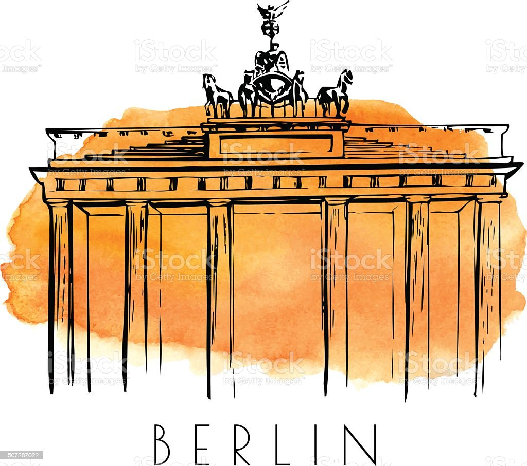 Vektor-Skizze des Brandenburger Tor mit Aquarell-Färbung – Vektorgrafik