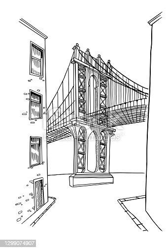 istock vector sketch of Brooklyn bridge in New York 1299074907
