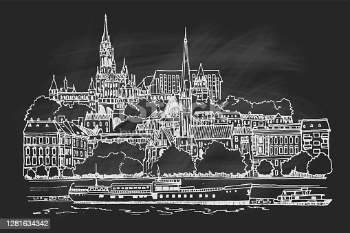 istock vector sketch of Budapest cityscape with Buda castle and Danube river 1281634342
