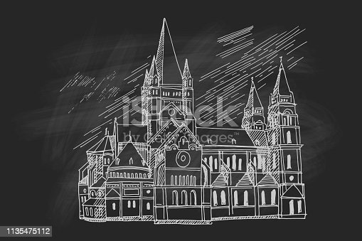 Vector sketch of Church Heiliger Franz of Assisi, Vienna, Austria