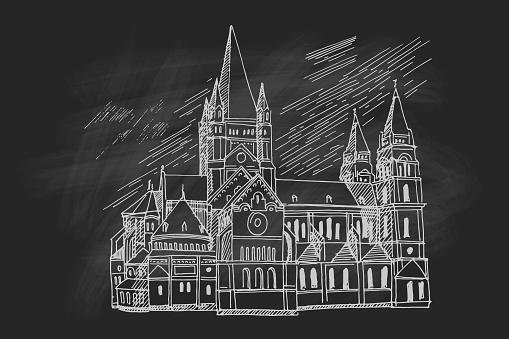 Vector sketch of Church Heiliger Franz of Assisi, Vienna, Austria